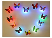 Wholesale self adhesive led lighting - LED Butterfly Wall Sticker Hangings 3D Wall Decros Party Decoration Halloween Christmas Ornaments Night Lights Decor
