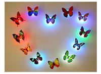 décorations murales de noël achat en gros de-LED Papillon Wall Sticker Hangings 3D Mur Decros Party Décoration Halloween Décorations De Noël Night Lights Décor