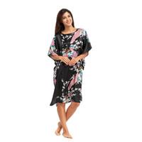Wholesale Sexy Nightshirts - Wholesale- Hot Sale Black Women Rayon Robe Dress Gown Chinese National Sleepwear Nightshirt Flower&Peacock Kimono One Size Z161902