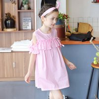 Wholesale Embroidered Headbands - Everweekend Girls Summer Stripes Bow Dress Pink and Blue Color Off Shoulder Dress with Headbands Western Fashion Children Clothing