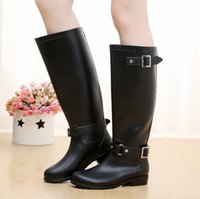 Wholesale Motorcycle Boots For Short Women - 3 color good quality new women men tall knee high   short style rubber rainboots Welly rain boot water shoes for adult