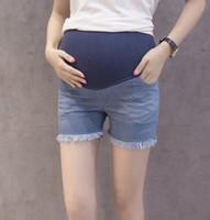 Wholesale Maternity Jeans Short Pants - Women Denim Adjustable High Waist Jeans Maternity Short Pants Size M L XL XXL DXSM6020