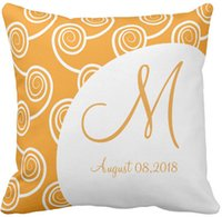 "Wholesale Swirl Cover - Throw Pillow Case White Swirl Orange Monogram Wedding Keepsake Squar Sofa and Car Cushions Cover, ""16inch 18inch 20inch"", Pack of X"
