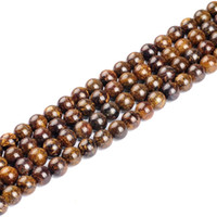 """Wholesale Bronze Loose Beads - High quality natural Gray bronze color round loose stone ball Beads 15"""" Strand 4 6 8 10 12mm DIY Jewelry Making bracelet"""