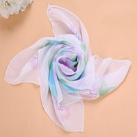 Venda por atacado- Hot Sale Women Chiffon Square Kerchief Printed Flower Pattern Silk Muffler Large Cape Spring Autumn Summer Scarf Shawl F0171