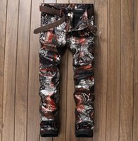 Wholesale colored drawing jeans - Men's Colored Drawing Jeans Print Slim Fit Personality Fashion Graffiti Painting Jeans Pattern Denim Pants