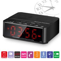 Wholesale Dock Amplifier - The Multifunctional Bluetooth Speaker Mini Portable Wireless Amplifier FM Radio LED Alarm Clock Wireless For Mobile Phone