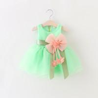 Wholesale Big Flower Dress - baby girls princess party dresses girl prom dress Big Bowknot Voile Dress Shining Flower girl Wedding dress LC348