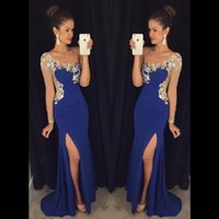 Сексуальный искровой кристалл вышитый бисером One Long Sleeve Front Slit Prom Dresses 2017 Black Shiffon Mermaid Long Party Evening Dress