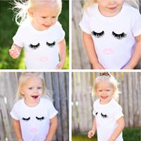 Wholesale organic cotton tee shirts wholesale - INS Baby Clothes Summer Boys Girls Kids T-shirt Eyelashes Ice Cream Printed Cotton Newborn White T-shirt Tees Children Kids Clothing 515