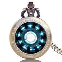 Wholesale Iron Man Arc - Wholesale-New Arrive Tony Stark Iron Man Arc Reactor Jarvis Relogio De Bolso Beautiful Pendant Pocket Watch Necklace Clock