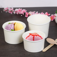 Wholesale White Ice Cream Cups - White Paper Cup United Artists Disposable Cups Ice Porridge Cream Bowl Without Cover For Sale Free Shipping No Peculiar Smell 217 8lm H