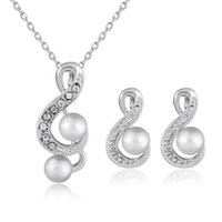 Wholesale Girls Jewlery - Crystal Pearl Musical Note Necklace Earings Jewelry Sets for Wedding Brides Bridesmail in Silver Necklaces Earrings Fashion Jewlery 162164