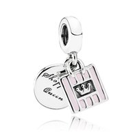 Wholesale Enamel Pendant Jewelry - Authentic 925 Sterling Silver Bead Charm Pink Enamel Shopping Queen Bag Pendant Beads Fit Women Pandora Bracelet Bangle Diy Jewelry HK3684