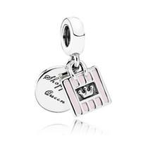 Wholesale Enamel Pendant Round - Authentic 925 Sterling Silver Bead Charm Pink Enamel Shopping Queen Bag Pendant Beads Fit Women Pandora Bracelet Bangle Diy Jewelry HK3684