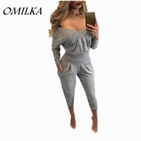ingrosso tuta donna grigia-All'ingrosso- OMILKA Pagliaccetti Womens Jumpsuit 2017 Autunno Inverno manica lunga con scollo a V Off the Shoulder Grigio Club Party Bodycon tuta One Piece