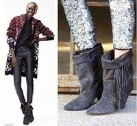 saçak paçalı ayak bileği botları toptan satış-Modası Süet Fringe Gladyatör Sonbahar Çizmeler Ayak Bileği Kadın Çizmeler Üzerinde Kayma Kalite Modası Mujer Püskül Ayakkabı Kadın ayak bileği Patik