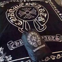 Wholesale Full Cotton Blanket - 2017 Hot The same Speed and passion 7 Crow heart Brand black flannel fleece blanket 200x150cm with luxury brand logo shawl nap travel blank