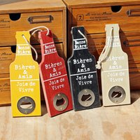 Wholesale Outdoor Wall Decor Wholesale - Beer Pattern Bottle Opener Wall Hanging Designs Retro America Style Outdoor Decor Multifunctional Wood Opener Suspension Wall Decoration