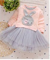 Wholesale Girl Goose - Children princess dress 2017 new Autumn girls goose big bows knitting dress kids rabbit splicing tulle dress girls fashion clothes C1135