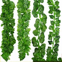 Wholesale Simulated Leaves Ivy Leaf Vine Impersonation Green Vines Man Made Evergreen Cane Artificial Flower Greenery Wedding Home Decor ly A R