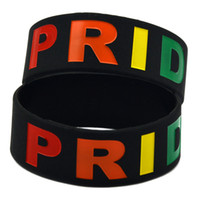 "Wholesale Glowing Bands - 50PCS Lot Gay Pride Wristband Silicone Bracelet Filled in Rainbow Colour Logo 1"" Wide Band Black"