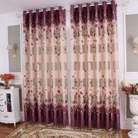 Wholesale fix rose - Rose Curtain for Living Room Bedroom Pastoral Style Elegant Romantic Rose Floral Design Door Window Treatment