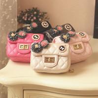 Wholesale Korean Girl Purses - Korean Girls Princess Mini Bags 3D Flower Betterfly Children designer purses Fashion rhombus Metal Chain Kids Messenger Bag C2350