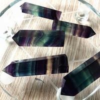 ingrosso pietra naturale arcobaleno-Punti Colore Cristalli Arcobaleno Striscia di Fluorite Naturale Punto Quarzo Reiki Guarigione Cristallo Cure Chakra Pietra Per Casa Deco 10 sz B