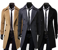 Stylish Herren schlanke Trenchcoat Winter Lange Jacke Double Breasted Overcoat
