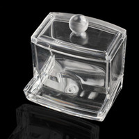 Wholesale Q Tip Cases - Wholesale- New Clear Acrylic Cotton Swab Q-tip Storage Holder Box Cosmetic Makeup Case