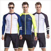 Dropshipping Lycra da uomo Swim manica lunga Dive skin Snorkeling Surf Rash Guard Zipper Shirt Collant e shorts Swim Suit Jacket
