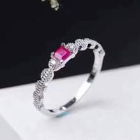 rubi vermelho 925 venda por atacado-2017 nova moda gemstone anel 3mm 0.2ct sangue vermelho rubi anel de prata sólida 925 rubi anel de presente romântico para namorada