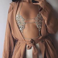 Wholesale Luxury Boho Fashion - Best lady 2017 Fashion Statement Jewelry Flowers Sexy Body Necklace Chain Bra Necklace Summer Boho Luxury Brassiere Women 5241