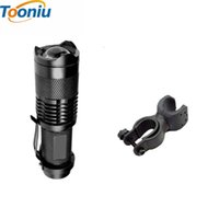 Wholesale Flashlight Frames - Mini Cree Q5 2000lm Led Outdoor Zoomable Light Lamp Bicycle Front Led Flashlight Torch Bike Frame Holder Mountain Bike Frame