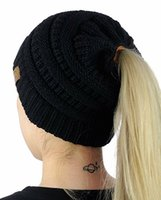 Wholesale Caps Cloth - Christmas gift 100PCS Women CC Ponytail Caps CC Knitted Beanie Fashion Girls Winter Warm Hat Back Hole Pony Tail Autumn Casual Beanies
