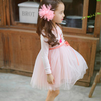 Wholesale 2017 Girl dresses long sleeved Lace Princess Tutu embroidered dress Spring ans Summer pink blue and green