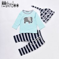 Wholesale Toddler Boy Striped Pants - Mikrdoo Fashion Boy Girl Clothes Infant Baby Toddler Outfits Kids Elephant Logo Printed Sky Blue Tshirt Striped Pants Hat 3PCS Clothing Suit