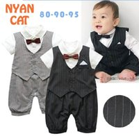Wholesale Boys Bow Tie Vest - Baby Boys Rompers Gentleman Stripe Bow Tie Vest Short Sleeve One Piece Jumpsuits Infant Overalls E13055