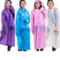 Mulheres Long Rain Coat 0.13mm EVA Hooded Transparent Raincoat Impermeável Poncho Portátil Raincoat ambiental Rainwear 7 cores OOA3303
