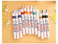 Wholesale Motorcycle Paint Wholesale - 12pcs lot Marker Paint Pen Car Motorcycle Tyre Tire Tread White pen1 Brand Motorcycles Tools