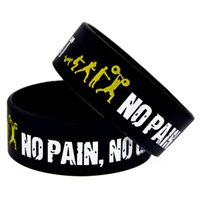 Wholesale Green Pain - Hot Sell 1PC 1'' Wide Everybody Fit No Pain No Gain Silicone Bracelet, Show Your Support For Them By Wearing This Wristband