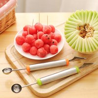 Wholesale Ball Cutter - Fruit Dig Ball Scoop Spoon DIY Creative Watermelon Melon Fruit Carving Cutter Cold Double Head Home Kitchen Dishes Tools 1000pcs OOA2050