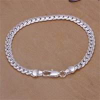 Wholesale sterling silver chains bracelet mens - 10PCS lot Free shipping Wholesale 925 Sterling silver plated 5M - Mens Bracelet sideways LKNSPCH199