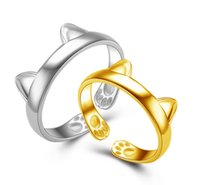 Wholesale Valentine Wholesalers China - NEW STYLE 6MM*20MM Cat fashion silver ring Female opening cat ears claws end ring Ring light silver Valentine 's Day Christmas jewelry L43