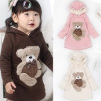 Wholesale Hoodie Promotion - Wholesale- Sales promotion Female Children Kids Clothing New Autumn Winter Bear Sweater Thickening Fleece Baby Sweater Hoodie Jacket