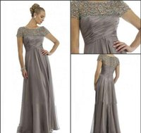 Wholesale Bride Mum - 2017 Long Mother Of The Bride Dresses Grey Plus Size Short Sleeve Beaded A Line Chiffon Wedding Party Dress Mum Evening Gowns Mother's