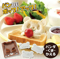 Wholesale Toasted Bread Cartoon - A Toast Bread Mold Maker Panda Flog Bear Model Home DIY Cookie Cutter Plastic Sandwich Cartoon Bear Tool Christmas gifts