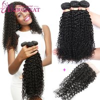 Wholesale Cheap 12 Inch Curly Hair - Brazilian Curly Human Hair Weaves Brazilian Human Hair Bundles With Closure 3Pcs lot Cheap Brazilian Human Hair Weaves With Lace Closure