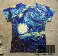 Wholesale rock tracks - Wholesale-Track Ship+Vintage Retro Cool Rock&Roll Punk T-shirt Top Tee Abstract Painting Blue Cloud 0120